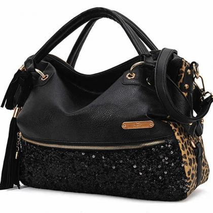 Black Leather Leopard Print Sequin Crossbody Shoulder Handbag