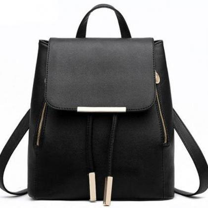 Black Leather Backpack With Gold Zipper And Tassel Detailing on Luulla
